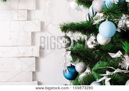 Decorated Christmas Tree. Beautiful Christmas Living Room With Christmas Tree