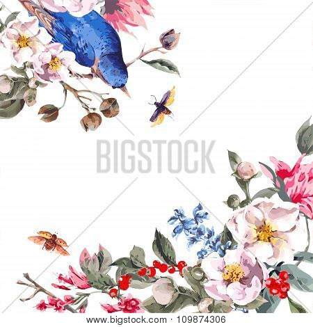 Vintage Greeting Card with Pink Flowers, Beetles and Birds