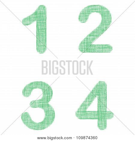 Green fabric font set - numbers 1, 2, 3, 4