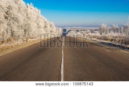 Morning landscape with high-way leading to Trostianets city in Ukraine