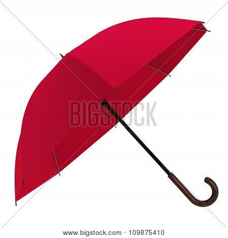 Open Red Umbrella Isolated On White Background.