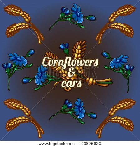 Bright wallpaper with cornflowers and ears
