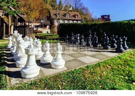 Outdoor Chess Board With Big Figures