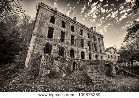 B&w Image Of Derelict Hotel At Vizzavona In Corsica