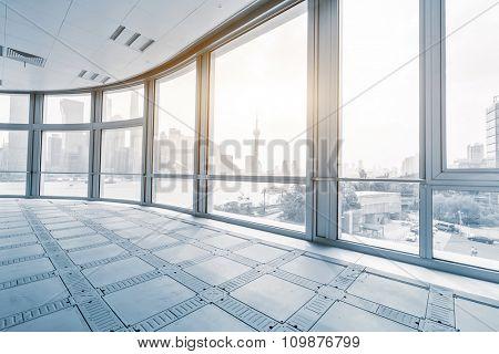 empty office room in modern office buildings in sunrise