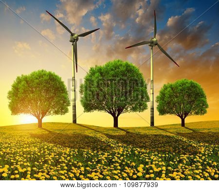 Trees with wind turbines on meadow at sunset. Spring landscape.