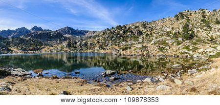 Reflection Of The In The First Lake Of Pessons, Andorra