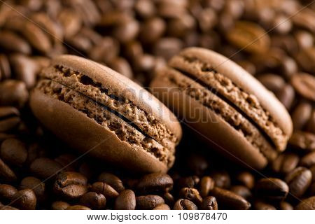 macarons with coffee flavor and coffee beans