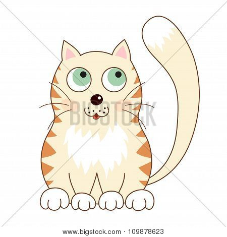 Cartoon smiling gentle beige kitty with ginger stripes sit