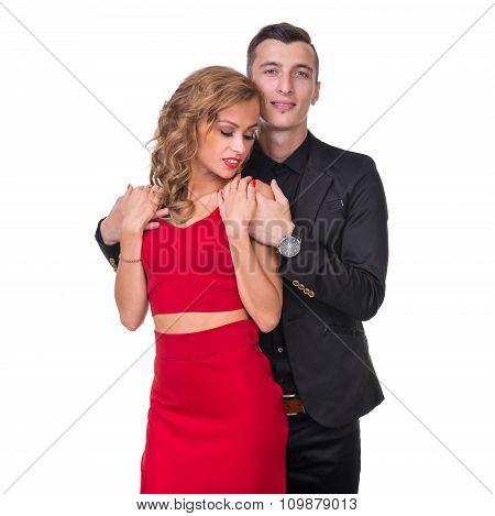 Young elegant loving couple portrait, isolated on white