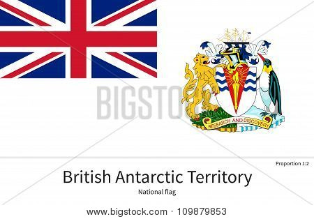 National flag of British Antarctic Territory with correct proportions, element, colors