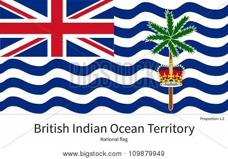 National flag of British Indian Ocean Territory with correct proportions, element, colors