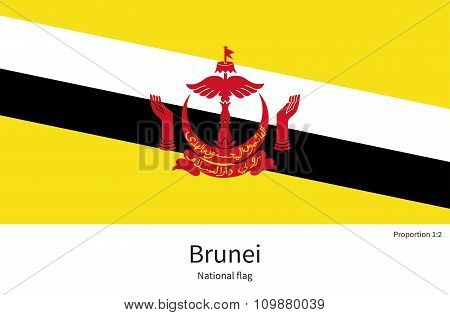 National flag of Brunei with correct proportions, element, colors