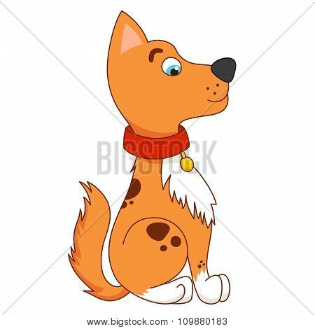 Cartoon smiling golden puppy, vector illustration