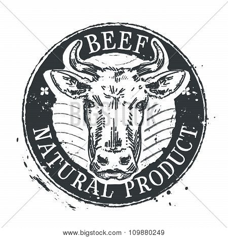 cow vector logo design template. beef or cattle breeding icon