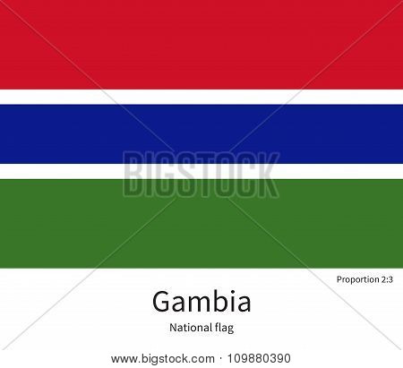 National flag of Gambia with correct proportions, element, colors