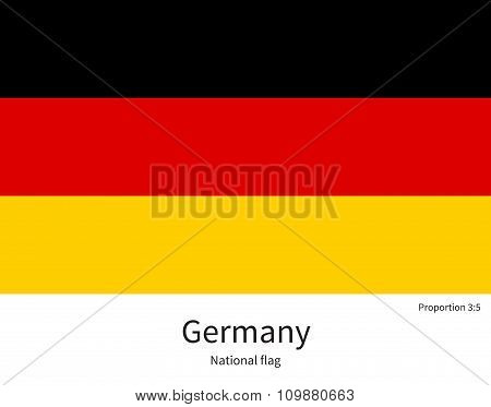 National flag of Germany with correct proportions, element, colors
