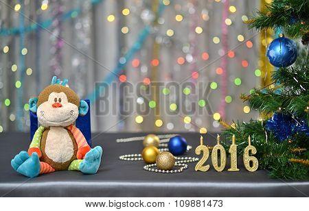 Christmas card 2016 . Year of the Monkey. Toy monkey