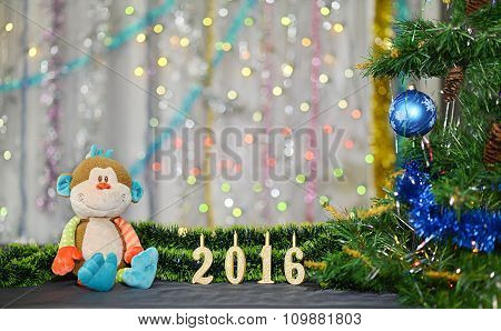 Christmas card 2016. Year of the Monkey. Toy monkey