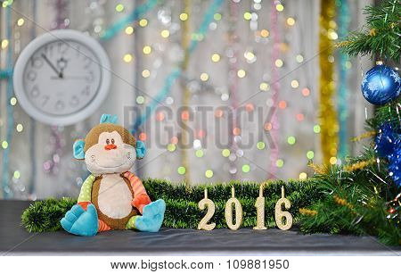Christmas card 2016. Year of Monkey. Toy monkey and clock