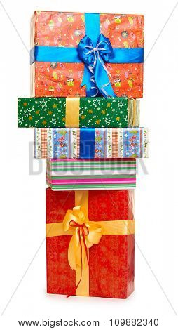 gift box stack - holiday object concept on white
