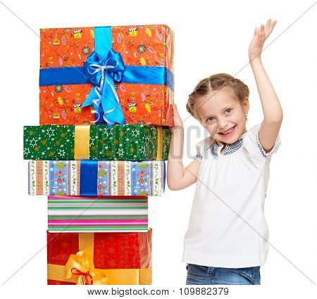 child with gift box - holiday object concept on white