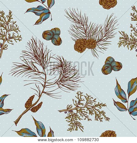 Christmas vintage seamless background with owls, spruce branches
