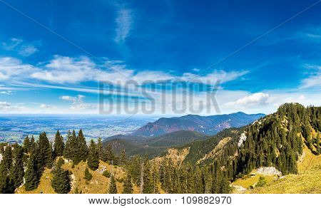 Alps And Forest In A Summer Day In Germany