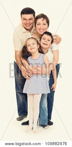 happy family on white isolated