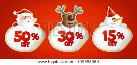New year or christmas sale coupons, stickers with 50 percents, 30 percents and 15 percents discounts.