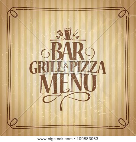 Bar Grill and Pizza menu template.