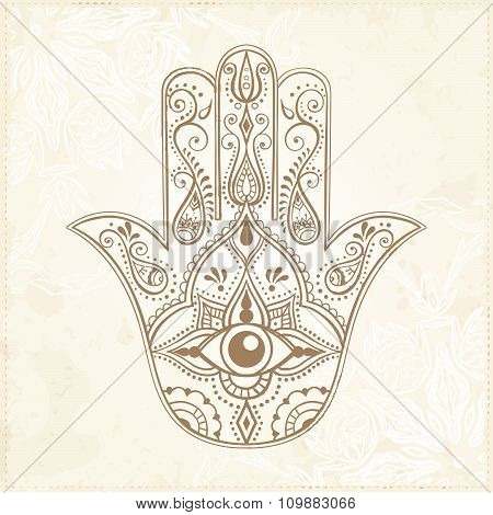 Indian Hand Drawn Hamsa With All Seeing Eye.