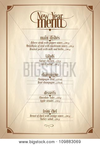 New Year menu list with place for text on a vintage paper backdrop.