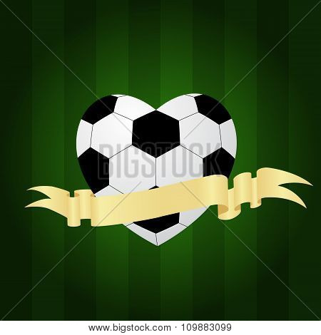 soccer ball heart with ribbon banner