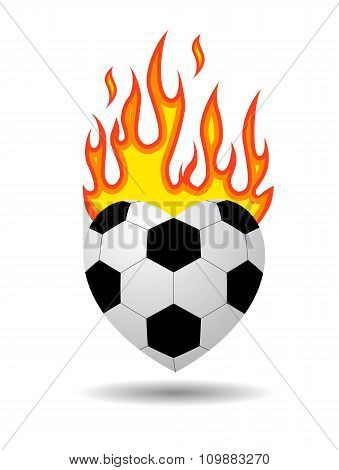 soccer ball heart on fire