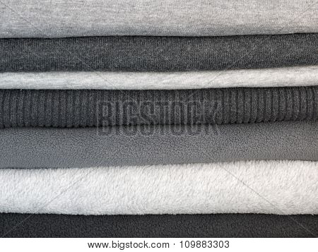 Stack Of Warm Gray Clothes