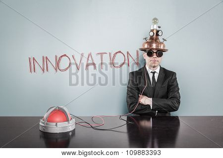 Innovation concept with vintage businessman and calculator