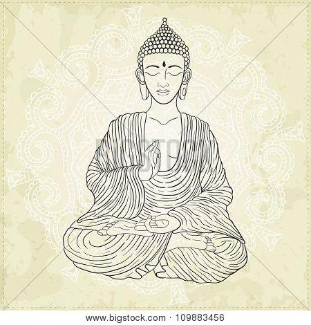 Vector Illustration Of Sitting Buddha.
