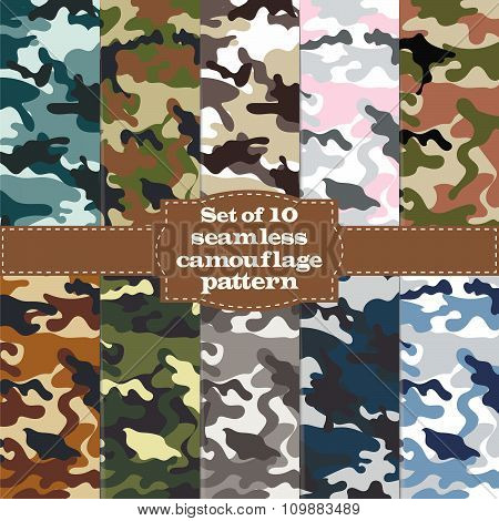 Seamless Set Of Camouflage Pattern