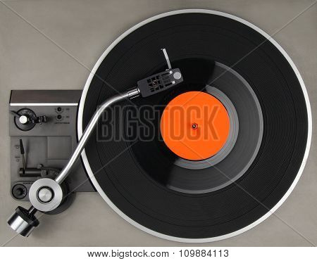 Vintage Record Player With Vynil Phonorecord