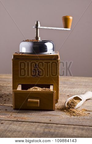 Freshly ground linseed. Manual mill.