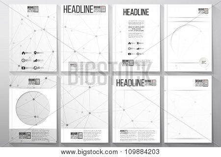 Set of business templates for brochure, flyer or booklet. Molecular structure design, scientific vec
