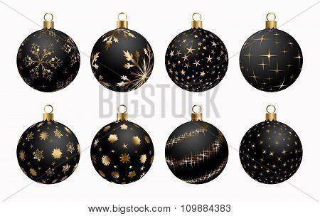 Christmas Ball Black Gold