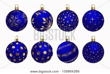 Christmas Ball Blue Gold