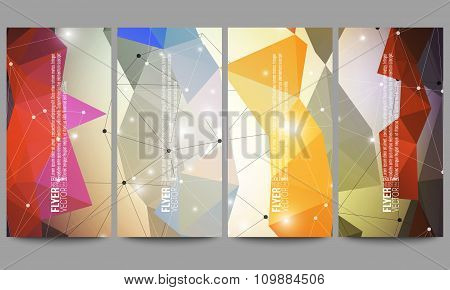 Set of modern vector flyers. Abstract multicolored background. Scientific digital design, science il