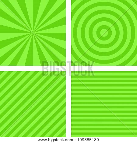 Simple lime color striped pattern set