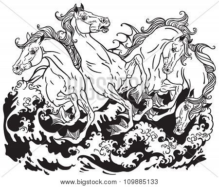four mythological seahorses
