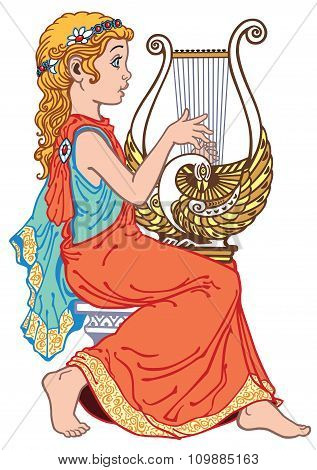 little girl playing lyre