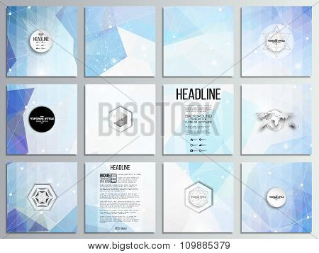 Set of 12 creative cards, square brochure template design. Abstract multicolored background. Scienti