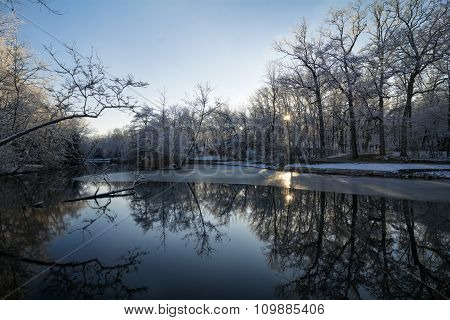 Snowy Winter Lake Scene